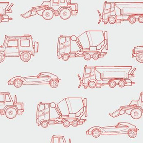 illustrated vehicles - red on grey