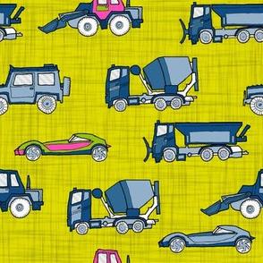 illustrated vehicles - yellow-green linen texture