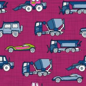 illustrated vehicles - purple linen texture