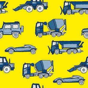 illustrated vehicles - classic blue on yelloe