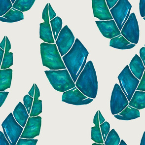 Evening in the Tropics - Watercolor Leaves on Tan