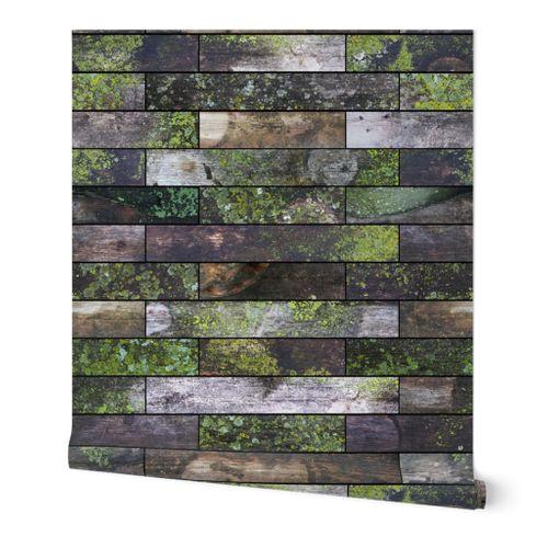 Mossy Wood Garden Wall