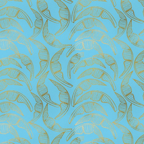 Evening in the Tropics - Spring in Palm Beach - Gold and Light Teal