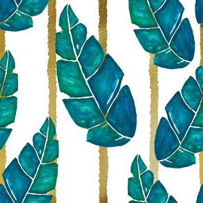Evening in the Tropics –Watercolor Leaves with Stripes on White