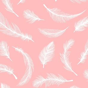 White Flying Feathers on the pink