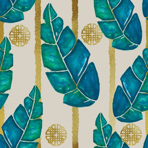 Evening in the Tropics –Watercolor Leaves with Stripes on Tan