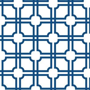 Lattice Gate // Classic Blue on White