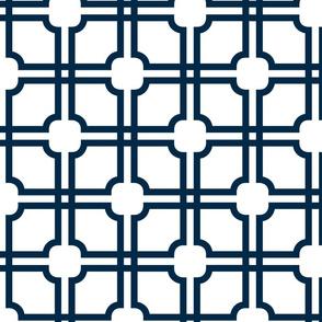 Lattice Gate // Downpour Blue on white