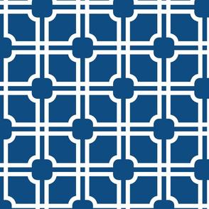 Lattice Gate //  White on Classic Blue