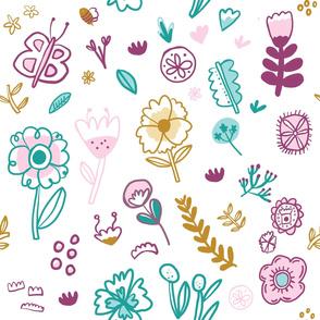 Playful Flower Hand Drawn Childrens Pattern Pink Purple Gold Blue