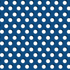 Shadow Dot // White on Classic Blue with Navy Shadows