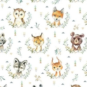 Woodland Animals – Baby Nursery Fabric- style A, SMALLER scale