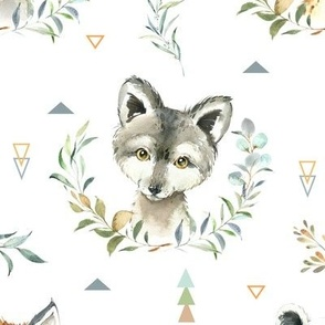 Woodland Animals – Baby Nursery Fabric- style A, LARGER scale