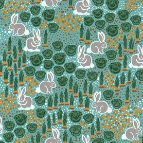 Bunnies in the garden - turquoise