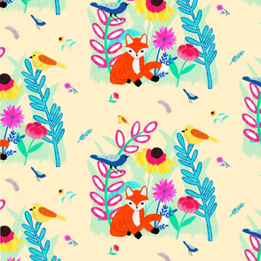 Illustrated Spring Fox, Birds and Florals