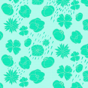 Spring Florals, Turquoise Background