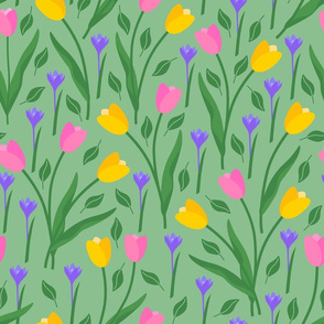 Sweet spring flora, tulips & crocuses Wallpaper Fabric
