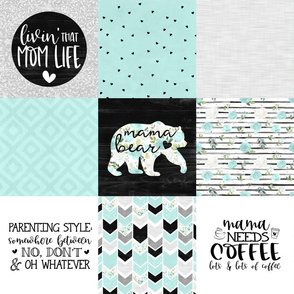 MomLife//Coffee//Mint - Wholecloth Cheater Quilt