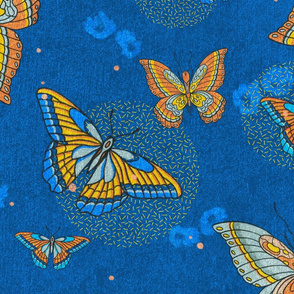 Illustrated Flora and Fauna Blue Denim Butterfly Moth Sprinkles