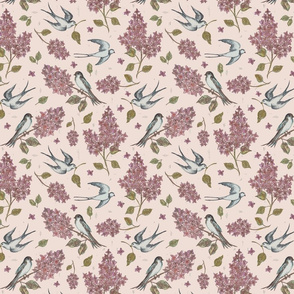 Spring swallows and lilacs