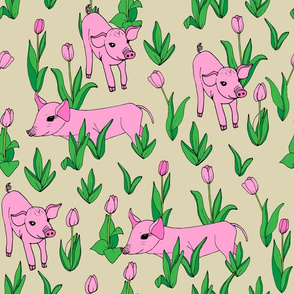 Spring Piglets and Pink Tulips on Tan - Co-ordinate