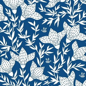Spring flora and fauna in blue