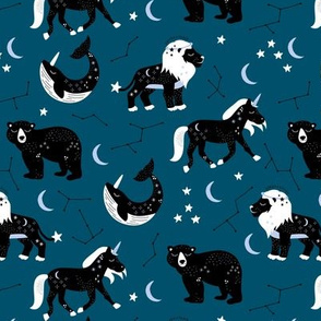 Little kawaii sleepy zodiac signs midnight moon and stars horse whale bear and lion constellation universe design navy blue