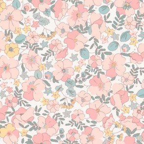 Floral Illustrated 70s Vintage-pink