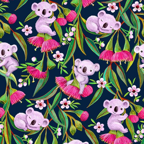 Teeny Tiny Koalas with Tea Tree Blossoms and Eucalyptus