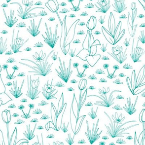 Spring Flora & Fauna - Flora Co-Ordinate Teal and White - small scale