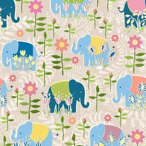 Baby elephants hiding in the garden - beige / large scale