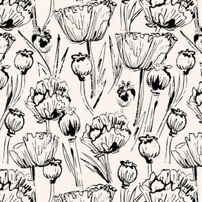 Vintage Poppies Black & White