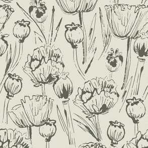 Olive poppies floral