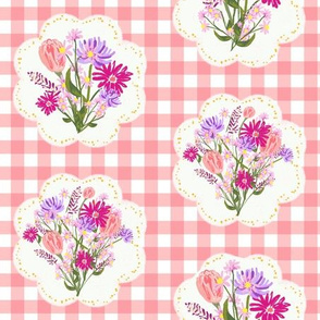 Wildflower Doilies in Salmon Gingham