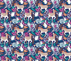 Small scale // Spring Joy // navy blue background pale blue lambs and brown taupe donkeys blue mint and pink garden
