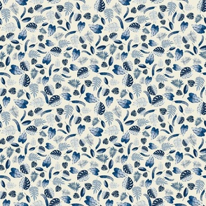 small - tropical leaves classic blue on natural