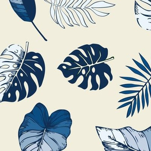 tropical leaves in classic blue on natural