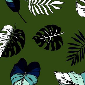 tropical leaves on dark green