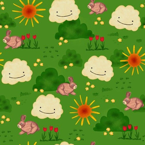 Brown bunnies in a flower field