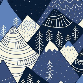 Mountains in blue (large scale)