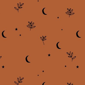 Little moon and stars jungle mystic boho garden moonlight dreams winter russet copper brown rust