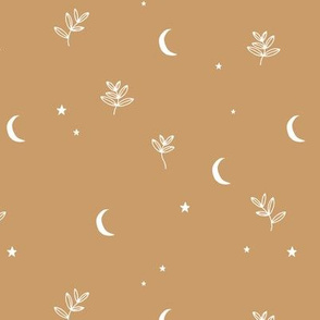 Little moon and stars jungle mystic boho garden moonlight dreams winter golden ochre