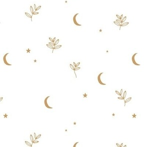 Little moon and stars jungle mystic boho garden moonlight dreams winter golden ochre white