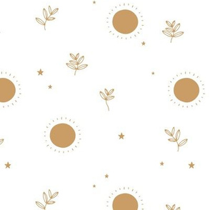Little sun and stars jungle mystic boho garden sunshine dreams winter white golden ochre