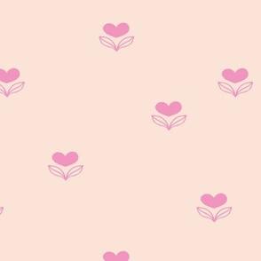 Cute little love flower spring blossom garden minimal nursery design pink