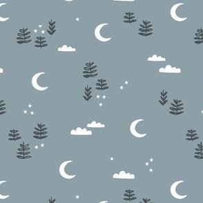 Little moon and stars forest trees jungle mystic boho garden dreams winter black blue