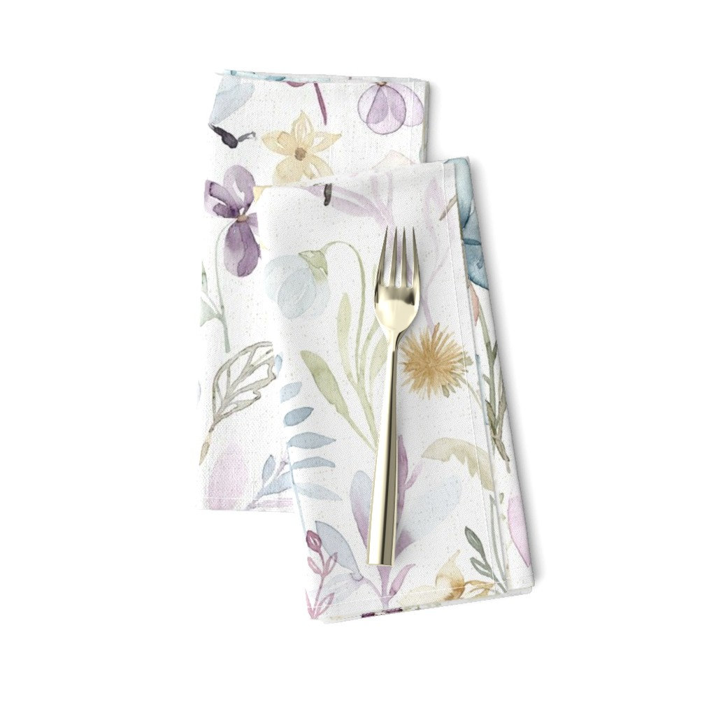 Amarela Dinner Napkins featuring Spring Floral meadow - LARGE scale by lolahstudio