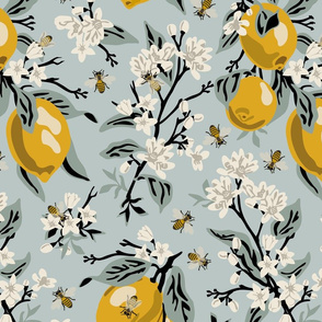 Bees & Lemons - Large - Blue, Version 4 - Black Stems