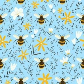 Spring bees and flowers