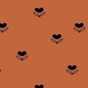 Cute little love flower winter blossom garden minimal nursery design rust brown